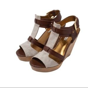 Cynthia Vincent Jemma Canvas Leather Wooden Wedge